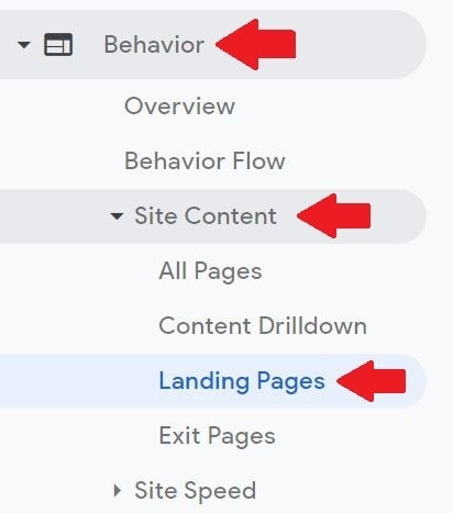 landing page reports