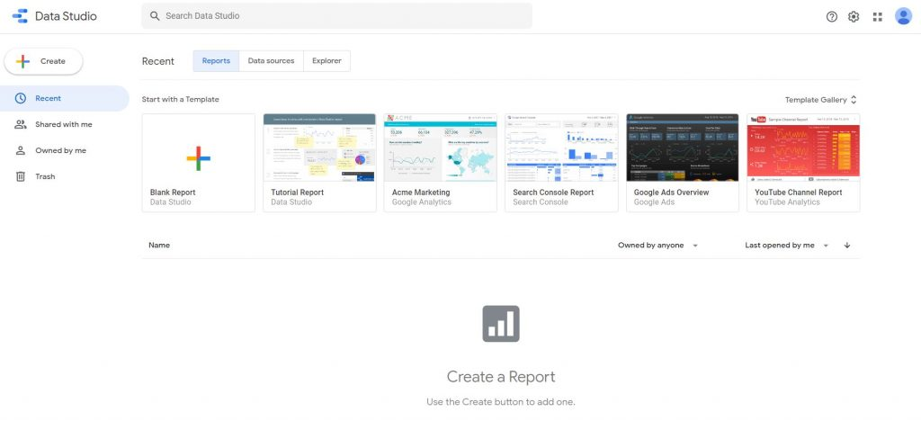 data studio dashboard for seo