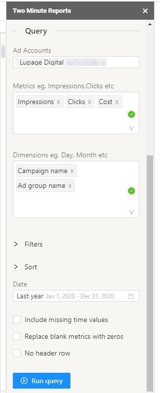 google ads to sheets8b
