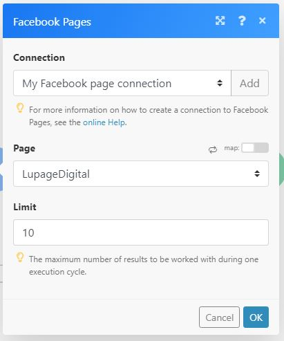 fb page sheets integromat 06