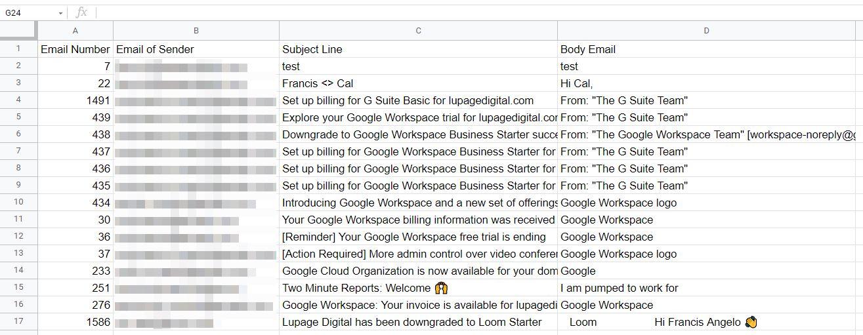 gmail to sheets integromat 19