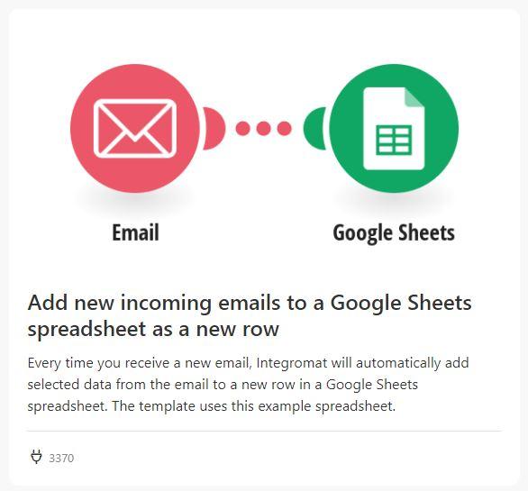 gmail to sheets integromat 4